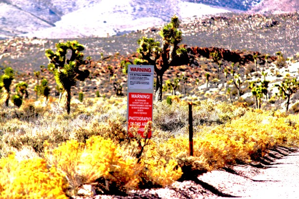 One of the warning signs found at the boundary on Groom Lake Road